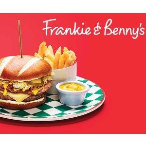 低至37折  全英258家通用Frankie & Benny's 招牌双人套餐低至37折 含甜点