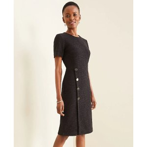 Ann TaylorTextured Button Trim Sheath Dress   Ann Taylor