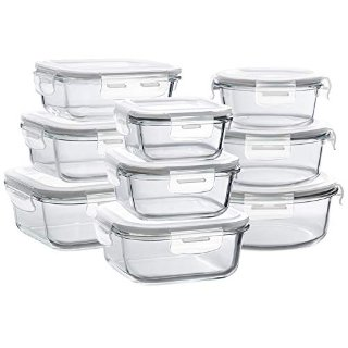 Bayco Glass Storage Containers with Lids, 9 Sets Glass Meal Prep Containers
