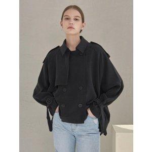 YAN13黑色短款风衣外套