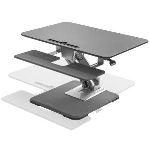 Seville Classics AIRLIFT Pneumatic Sit-to-Stand Adjustable Single Column Riser Desk Converter