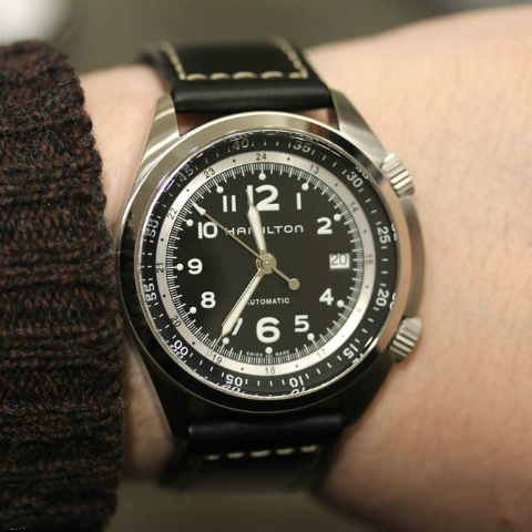 Hamilton Men's Khaki Aviation Pilot Pioneer Auto Watch ...