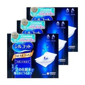 日本UNICHARM尤妮佳 1/2省水超吸收化妆棉 40枚入 COSME大赏第一位 3盒入 - 亚米