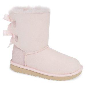 粉色蝴蝶结雪地靴