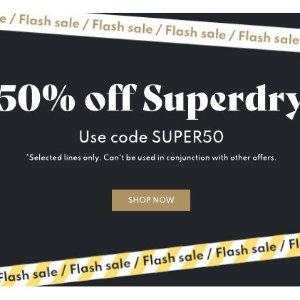 无门槛5折 黑五专享闪购:Superdry 英国平价运动品牌热促 街头潮人的最爱