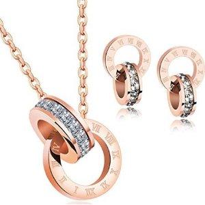 $16.91 (原价$19.9) 卡地亚平价替代Showfay 18K玫瑰金 双环项链+耳环套装