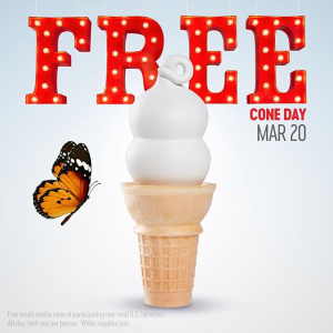 Free coneDairy Queen 1st day of spring!