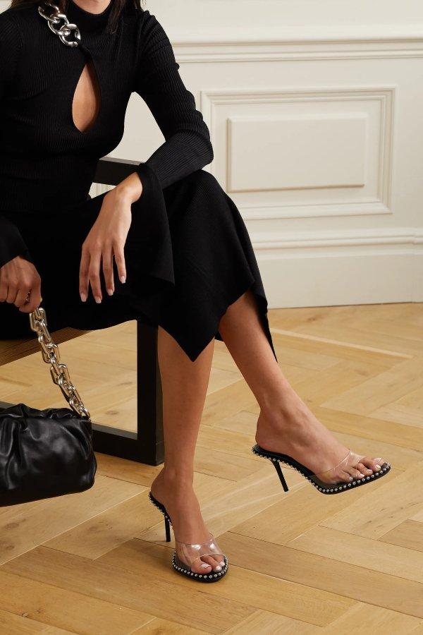 PVC铆钉高跟鞋