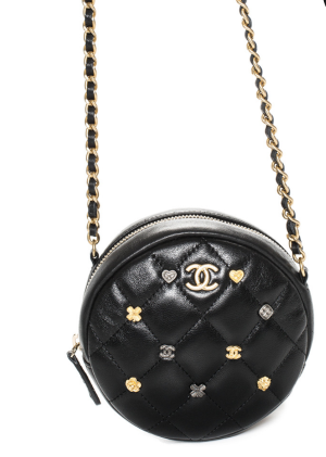 Chanel Limited Edition Black Lambskin Leather Circle Charm Crossbody, Never Carried