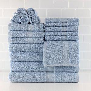 Mainstays Basic Bath Collection, 18-Piece Towel Set