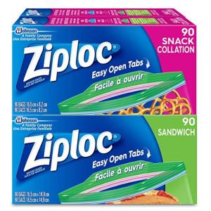$9.47(原价$14.99)Ziploc 密封保鲜袋360个装(180个三明治尺寸+180个零食尺寸)