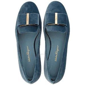 Salvatore Ferragamo湖蓝蝴蝶结单鞋