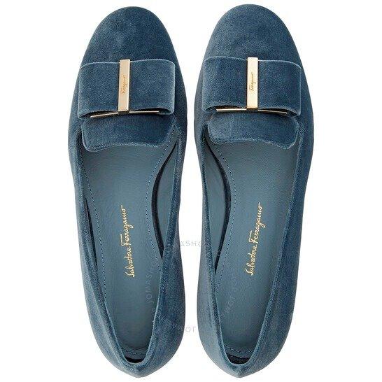 湖蓝蝴蝶结单鞋