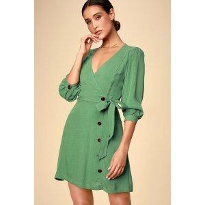 Aja Dusty Green Three-Quarter Balloon Sleeve Dress