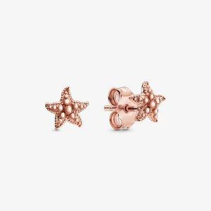 Pandora玫瑰金海星耳钉
