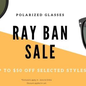 $50 Off + FSSOLSTICE Sunglasses Select Ray-Ban Styles