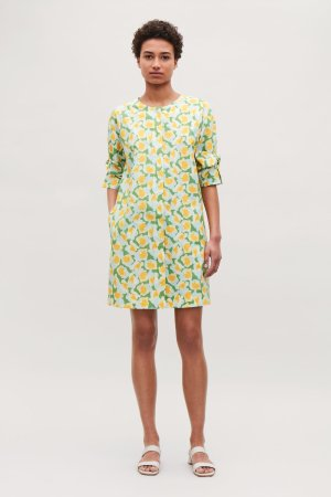 KNOT-DETAILED PRINTED DRESS - Green - Dresses - COS