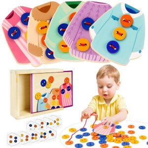60% OffVATOS Wooden Clothes Lacing Toys Toddler Montessori Toy