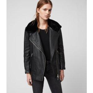 ALLSANTSMaizie 棉背心+毛领皮夹克2合1