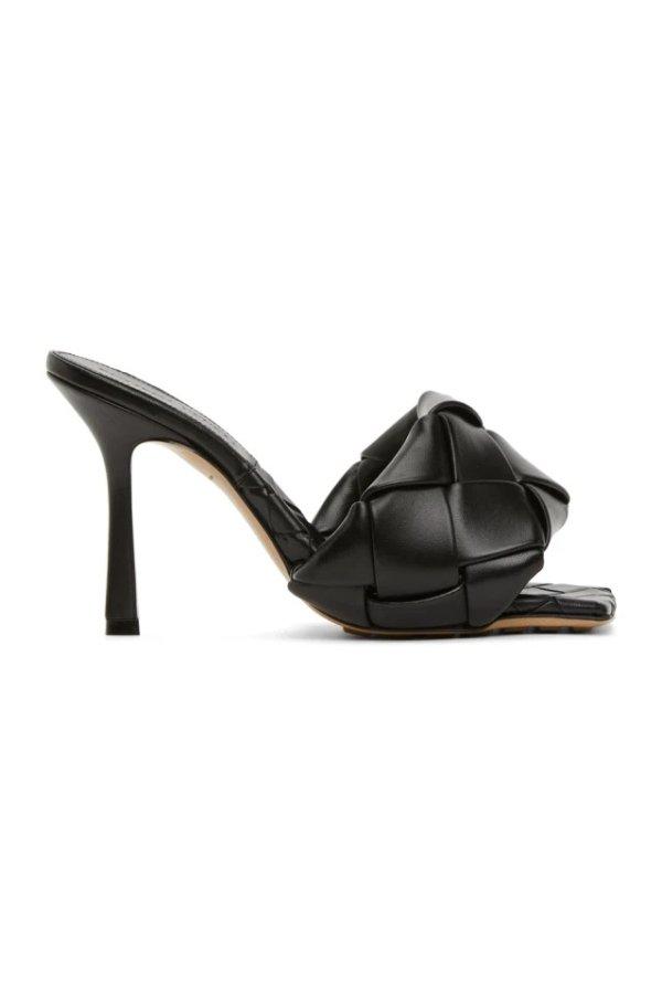 黑色格编方头凉鞋