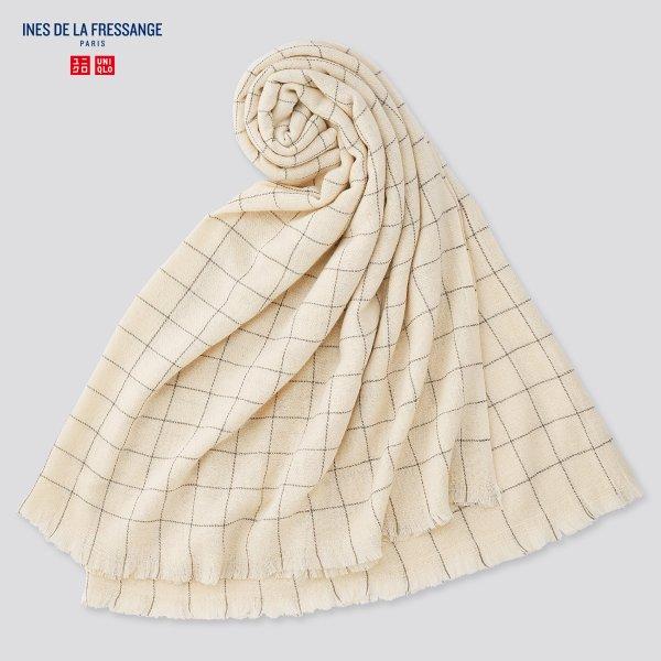 羊毛混纺格纹围巾
