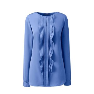 Lands' EndWomen's Long Sleeve Cascading Ruffle Soft Blouse
