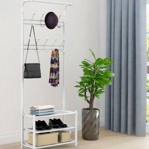 Easyfashion Metal Multipurpose Entryway Hall Tree with 3-Tier Shoe Rack