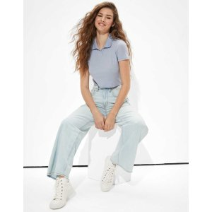 aerieAE Super Cropped Polo Baby Tee