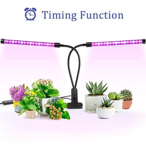 ANKACE Grow Light, 40W Dual Head Timing 36 LED 5 Dimmable Levels, 3 6 12H Timer, 3 Switch Modes