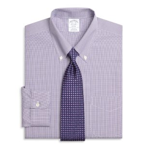 1177c6a896 Men's Non-Iron Slim Fit Purple Houndstooth Dress Shirt   Brooks Brothers