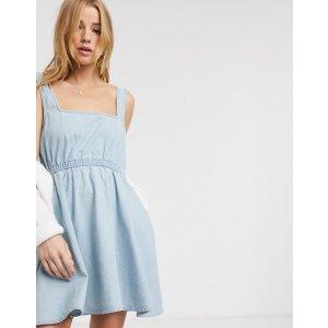 ASOSsoft denim square neck skater dress in lightwash blue | ASOS