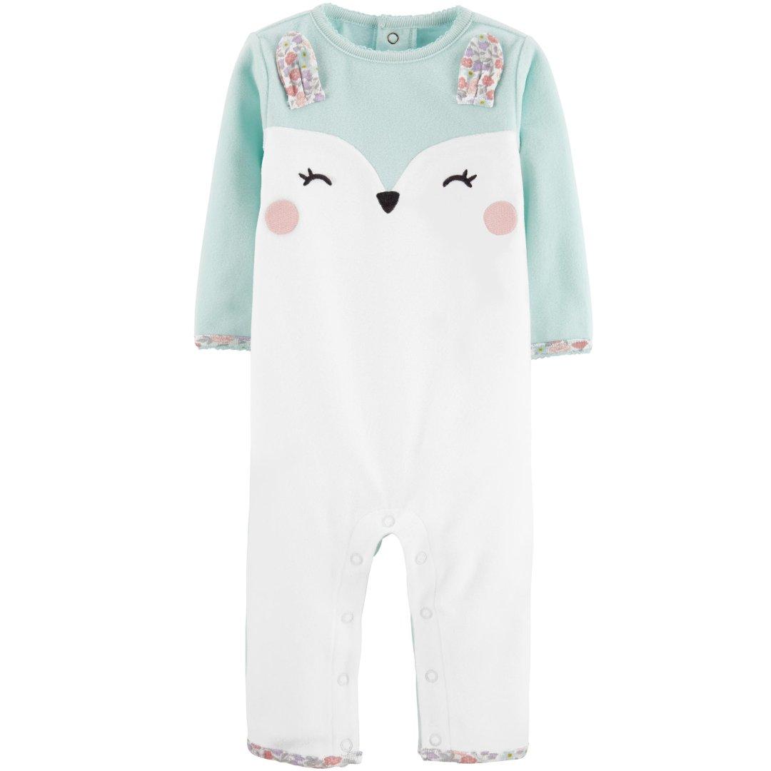 婴儿兔子抓绒连体衣