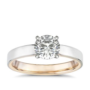 Blue NilePolish Two-Tone Solitaire Diamond Engagement Ring 14k White and Rose Gold (3mm)