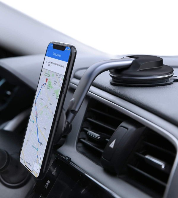 Car Phone Mount 360 Degree Rotation Dashboard Windshield [Strong Magnetic] Cell Phone Holder for Car Compatible with iPhone 11 Pro/11/XS Max/XS/8/7 and More