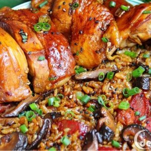 Easy Recipe for Rice cookerMushroom Soy Sauce Chicken Rice