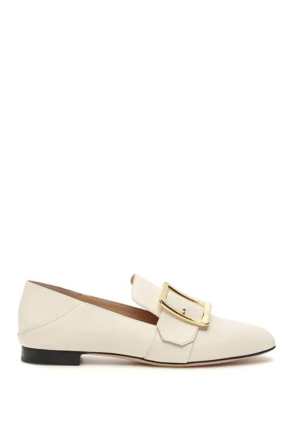 白色方扣乐福鞋