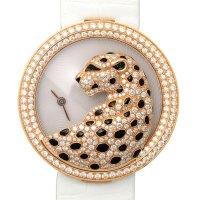 Cartier 18K 玫瑰金珍珠母贝镶钻奢华女表