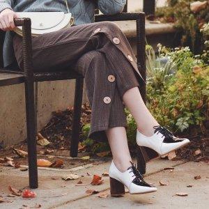 粉丝晒货同款Nina Hauzer 拼色粗跟鞋
