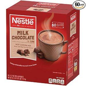 现价$10.5(原价$13.83)雀巢热可可粉 浓郁牛奶巧克力味 60包