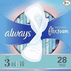 alwaysInfinity Feminine Pads for Women, Size 3, Extra Heavy Flow Absorbency, with Wings, Unscented, 28 Count, Pack of 3
