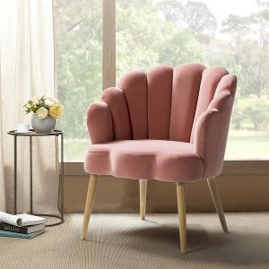 Carson CarringtonUllnasnoret Scalloped Velvet Arm Chair - Pink