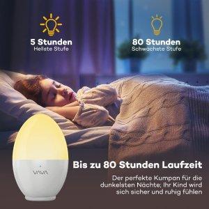 低至7.4折 €13.99收白色款Vava 可爱鸡蛋小夜灯 触摸设计亮度可调