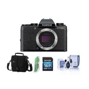 FujifilmX-T100 Mirrorless Digital Camera Body, Black With Free Accessory Bundle