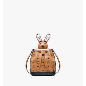 MCMZoo Rabbit Drawstring Bag in Visetos Leather Mix