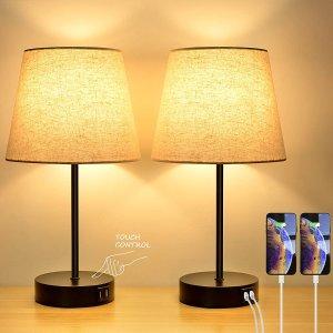 Bosceos 触控可调光台灯 2个装  带2个USB充电口