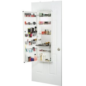 $121Mirrotek Beauty Armoire Makeup Organizer with Vanity Table, White Finish Frame