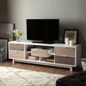 Furniture of AmericaDekisa Mid-century White 70-inch TV Stand by FOA