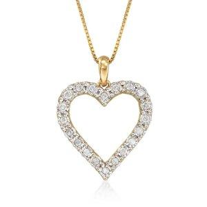 Ross-Simons.30 ct. t.w. Diamond Heart Pendant Necklace in 18kt Gold Over Sterling | Ross-Simons