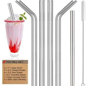 $8.99($10.97)金属吸管套装 加粗珍珠奶茶吸管 配套清洁刷 环保护牙新潮流