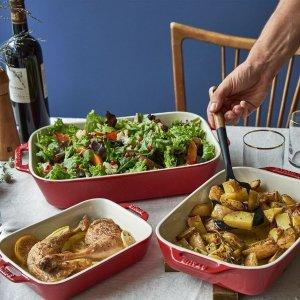 3件套折后€62 原价€109双立人Staub 方形陶瓷烤盘 焗烤菜必备 三个尺寸满足每顿饭